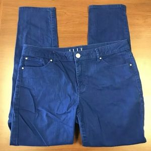 Elle Womens Blue Colored Ankle Skinny Jeans Sz 12